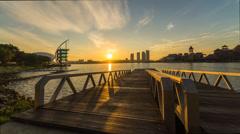 Beautiful Sunrise At Putrajaya Lakeside (Reversed) Stock Footage