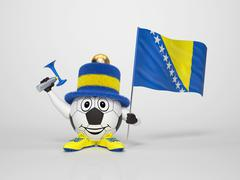 soccer character fan supporting bosnia - stock illustration