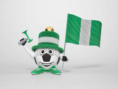 soccer character fan supporting nigeria - stock illustration