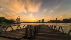 Beautiful Sunrise At Putrajaya Lakeside Stock Footage