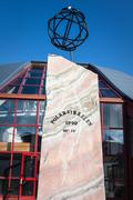 Norway: a large wooden compass marks the arctic circle Stock Photos