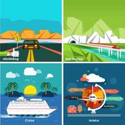 Icons set of traveling and planning a summer vacation Stock Illustration
