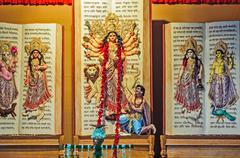 Goddess Durga, artwork and decoration, Durga Puja Festival, Kolk - stock photo