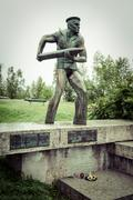 monument to polish troops in narvik - stock photo