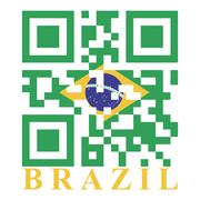 brazil qr code flag, vector - stock illustration