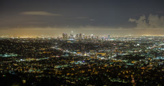 Stunning 4K time lapse of the Los Angeles skyline at night from Griffith Park Stock Footage