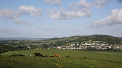 Isle of Wight country view towards Brading home to the Roman Villa Stock Footage