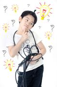 Portrait of asian cute boy with electric wire cable, energy concept . Stock Illustration