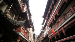 Historic narrow streets Chenghuang Miao Temple Shanghai Stock Footage