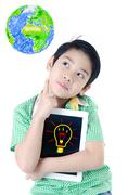 Stock Illustration of little asian boy think about that with tablet computer on isolated background