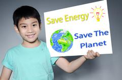 Portrait of asian child with eco concept Stock Illustration
