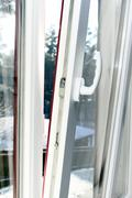 white plastic opened window - stock photo