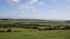 Countryside view to Whitecliff Bay near Bembridge east Isle of Wight Stock Footage