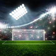 Soccer ball on green stadium arena - stock illustration