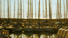 Port marina sailboat Slow motion Stock Footage