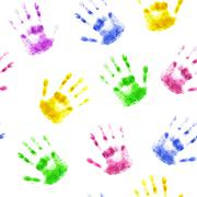 Seamless background with prints of human hands - stock illustration