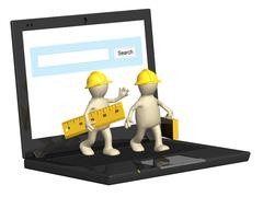Two builders and laptop - stock illustration