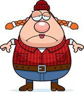 sad cartoon lumberjack - stock illustration