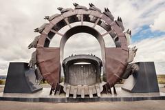 Giant excavator in open-cast coal mine Stock Photos
