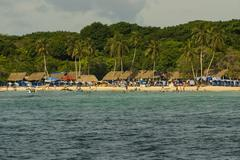 The Rosario Islands are an archipelago comprising 27 islands located about two h Stock Photos