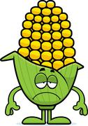 sad cartoon corn - stock illustration