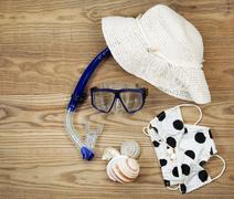 Beach attire for summer fun Stock Photos
