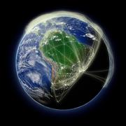 Network over South America - stock photo