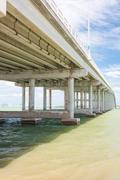 the key biscayne bridge in miami - stock photo