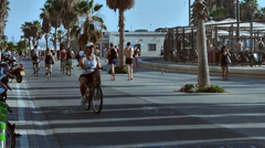 Sidewalk at the beach summertime slow motion slow motion Stock Footage