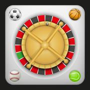 Symbol roulette casino for sports betting with balls. Stock Illustration