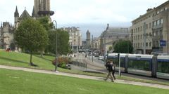 General view of the centre of Caen, Lower Normandy, France. Stock Footage