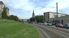 Tram (with audio) passing Le Château de Caen in Caen, Lower Normandy, France. Stock Footage