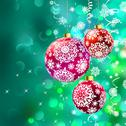 Christmas balls over green bokeh. EPS 8 Stock Illustration