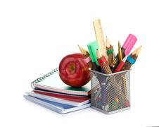 pencil box with school equipment - stock photo