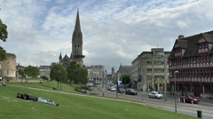 General view from Le Château de Caen towards Caen, Lower Normandy, France. Stock Footage