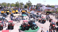 Lot of a Tractor in the agricultural  fair time lapse Stock Footage