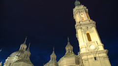 Belfry towers of Basilica at night - Low angle Stock Footage