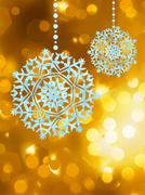 Stock Illustration of Winter golden abstract with snowflakes. EPS 8