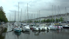 Boats moored in Bassin Saint-Pierre, Caen, Lower Normandy, France. Stock Footage