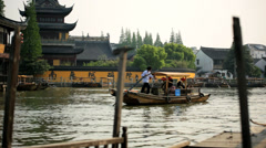 Tourists Zhujiajiao suburb of Shanghai ancient water town China - stock footage