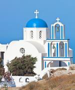 Stock Photo of Santorini, church with blue cupola