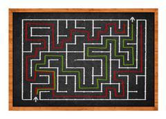 Labyrinth on chalkboard Stock Photos