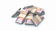 Stack of New Zealand dollars Stock Footage