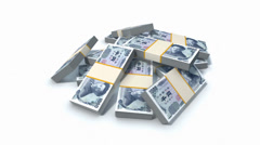 Stack of Japanese Yen bills Stock Footage