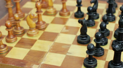 Old wooden chess. Chess game. Stock Footage