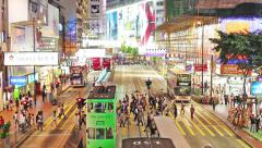 Timelapse video of a busy steet and commuters in Causeway Bay Stock Footage