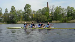 Mens quadruple scull rowing competition 2 Stock Footage