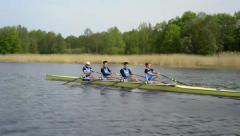 Mens quadruple scull rowing competition Stock Footage