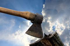 Old axe - stock photo