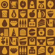 Brown kitchenware seamless - stock illustration